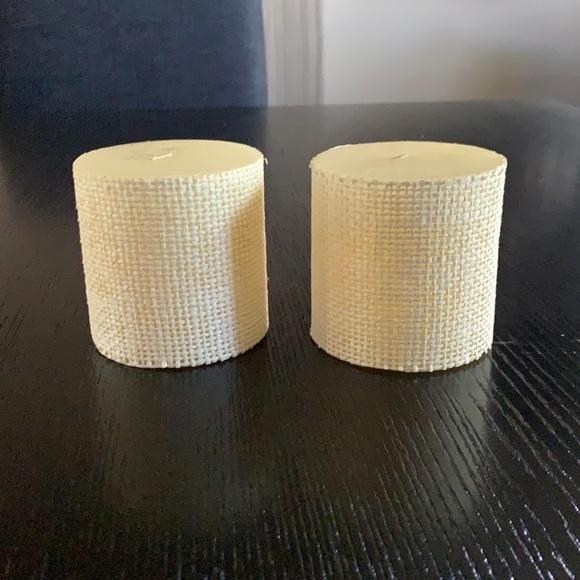 Pottery Barn Raffia Pillar Candle-Set of 2